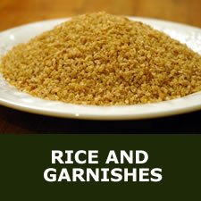 Rice and garnishes